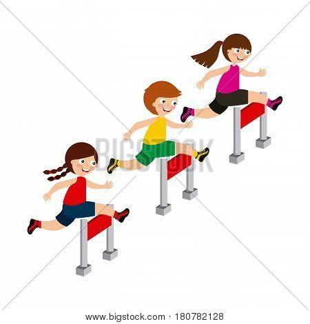 kids running, cartoon icon over white background. colorful design. vector illustration