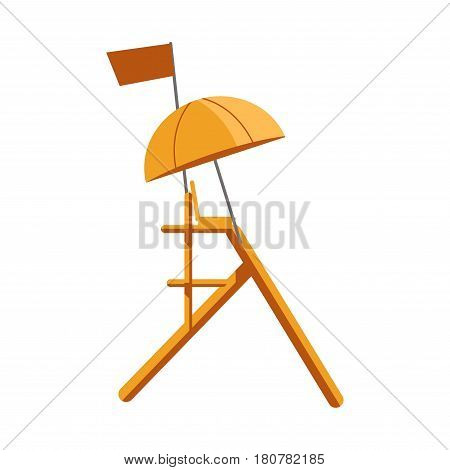 Beach safety guard tower colorful sign isolated on white. Vector illustration in flat design of high wooden element for observation with small armchair, round sun umbrella and rectangular flag
