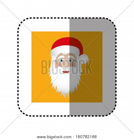 sticker ochre square frame with christmas santa claus face vector illustration