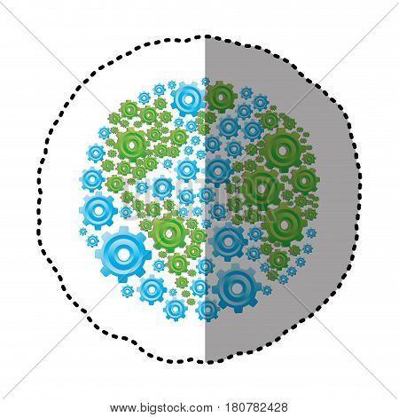 sticker colorful circular shape with pattern of pinions vector illustration