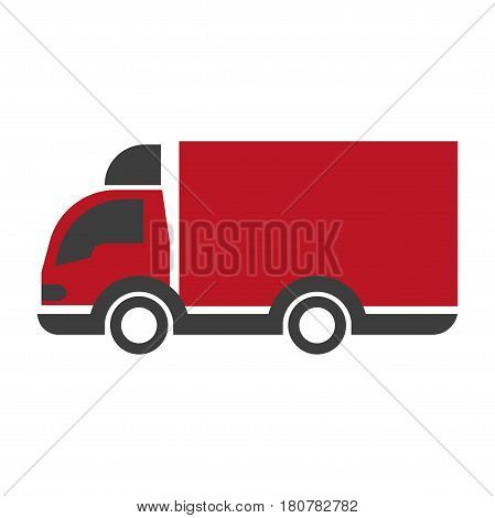 Truck lorry logo in black and red colors. Car with trailer delivery concept icon vector illustration. Transportation vehicle symbol of land shipping in flat design. Company logotype transport item