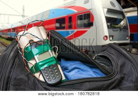 Dynamite Bomb With Phone In Terrorist Bag On Train Station