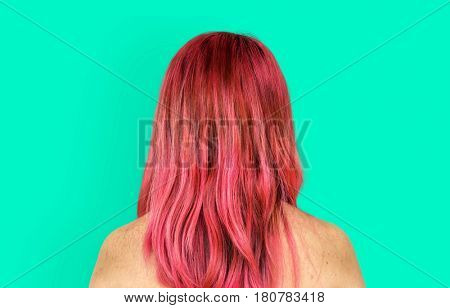 Pink Hair Woman Topless Studio Portrait