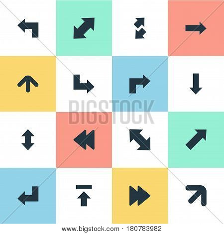 Vector Illustration Set Of Simple Cursor Icons. Elements Advanced, Right Direction, Straight-Back And Other Synonyms Advanced, Slanted And Raising.