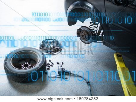 Digital composite of Car with wheel off and blue binary code