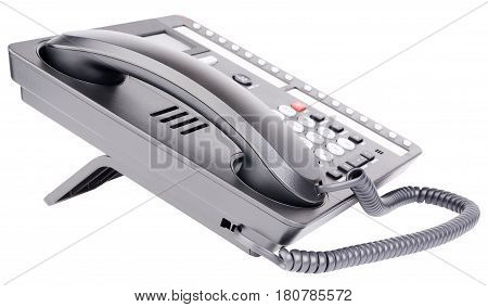 Office digital multi-button telephone set with LCD isolated on the white background