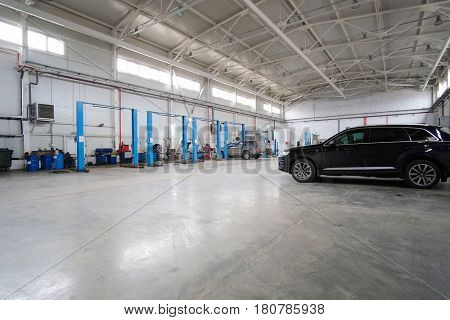 Stupino, Moscow region, Russia - April, 4, 2017: Car in a car repair station in Stupino, Russia