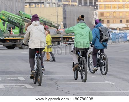 Moscow, Russia March, 13, 2017: group of bicyclist in a center of Moscow