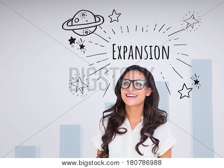 Digital composite of Happy woman with glasses and Expansion text with drawings graphics