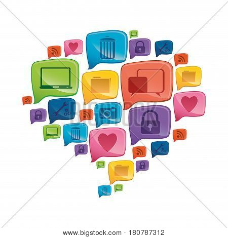 colorful pattern dialog shape formed by callout social icons vector illustration