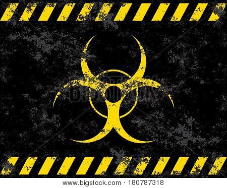 Biohazard symbol. Virus, infection, bacteria, contagion, toxic, waste quarantine contamination epidemic concepts Stylized grunge flag or background