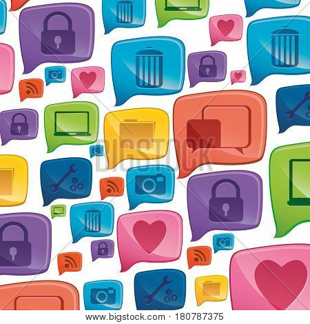 colorful pattern formed by dialogue social icons vector illustration