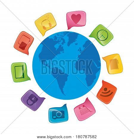 world map globe with dialogue social icons vector illustration