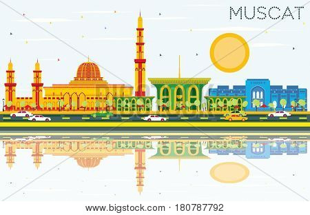 Muscat Skyline with Color Buildings, Blue Sky and Reflections. Business Travel and Tourism Concept with Historic Architecture. Image for Presentation Banner Placard and Web Site.