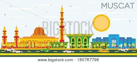 Muscat Skyline with Color Buildings and Blue Sky. Business Travel and Tourism Concept with Historic Architecture. Image for Presentation Banner Placard and Web Site.