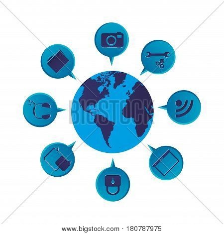 blue color world map globe with dialogue social icons vector illustration