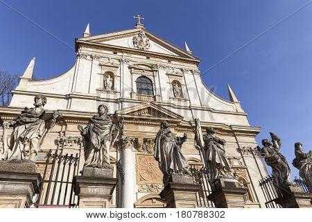 17th century Saints Peter and Paul Church details of facade Krakow Poland