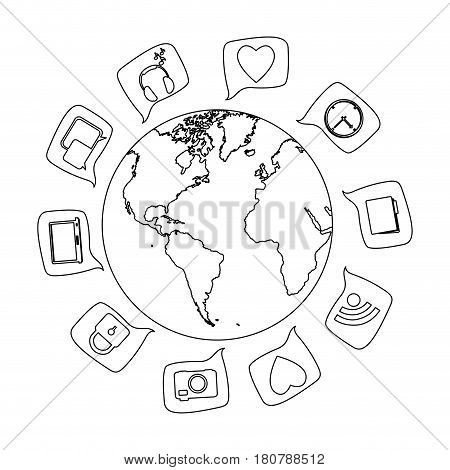 silhouette world map globe with dialogue social icons vector illustration