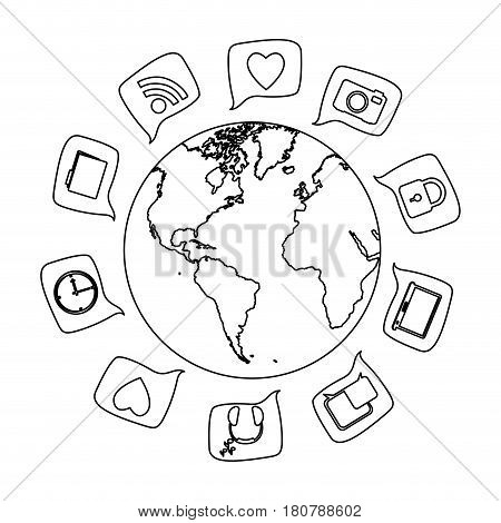 silhouette world map globe with square dialogue social icons vector illustration