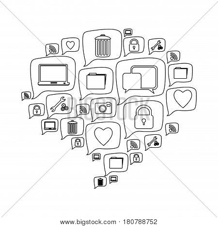 silhouette pattern dialog shape formed by callout social icons vector illustration