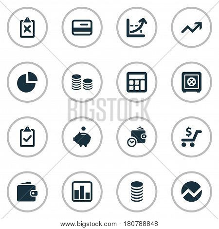 Vector Illustration Set Of Simple Investment Icons. Elements Piggy Bank, Increase, Wallet And Other Synonyms Segmentation, Money And Control.