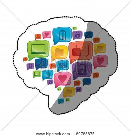 sticker colorful pattern dialog shape formed by callout social icons vector illustration