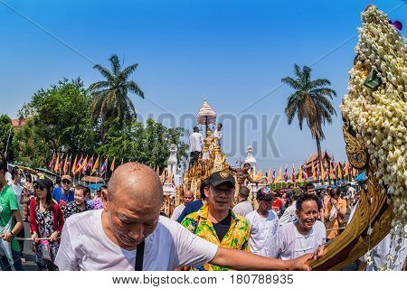 CHIANG MAI THAILAND - APRIL 13: Buddha Phra Singh of Phra Singh temple was moved to the parade cars for pour water in Songkran festival on April 13 2016 in Chiang Mai Thailand.