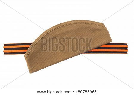 George Ribbon and hat isolated on white background