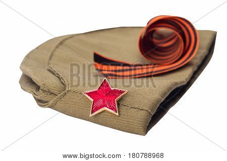 George Ribbon and hat with a red star on white background isolated