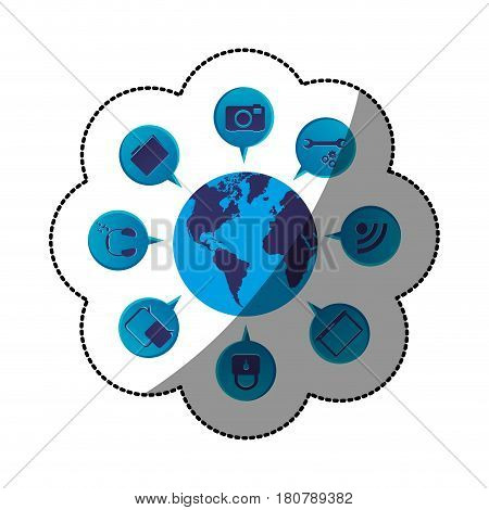 sticker blue color world map globe with dialogue social icons vector illustration
