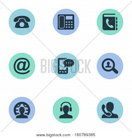Vector Illustration Set Of Simple Communication Icons. Elements Intercommunication, Postal, E-Mail Symbol And Other Synonyms Communicator, Career And Man.