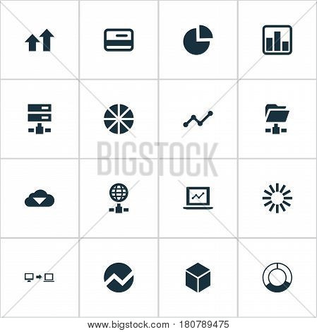 Vector Illustration Set Of Simple Data Icons. Elements Economy, Plastic Money, Internet Server And Other Synonyms Sending, Progress And Spread.