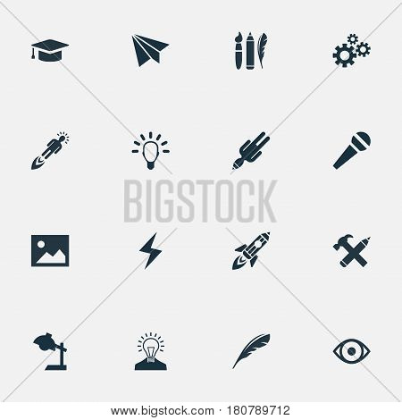 Vector Illustration Set Of Simple Creative Thinking Icons. Elements Pencil, Entrepreneur, Plume And Other Synonyms Creativity, Quill And Process.