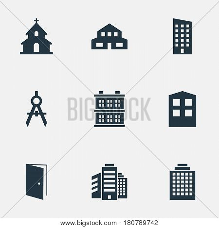 Vector Illustration Set Of Simple Construction Icons. Elements Gate, Construction, Floor And Other Synonyms Superstructure, Block And Religious.