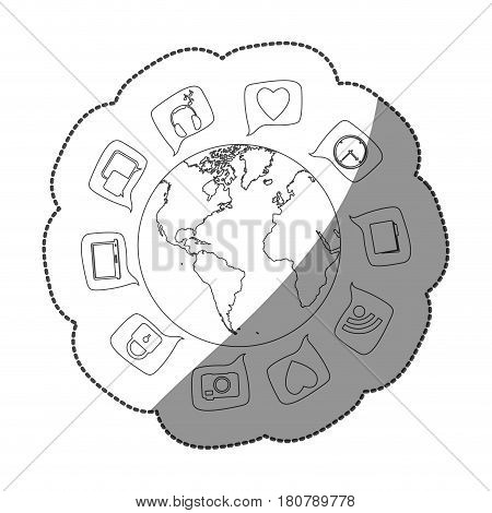 sticker silhouette world map globe with dialogue social icons vector illustration