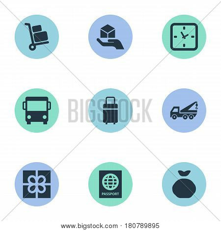 Vector Illustration Set Of Simple Conveyance Icons. Elements Trip Luggage, Autobus, Minutes And Other Synonyms Identity, Sack And Baggage.