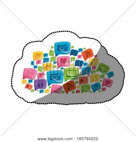 sticker colorful pattern cloud shape formed by callout social icons vector illustration