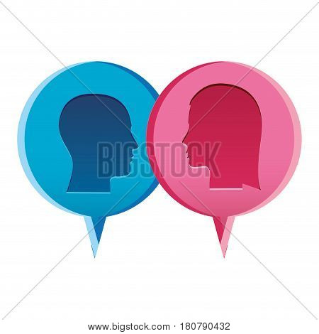 colorful relief dialogue between man and woman vector illustration
