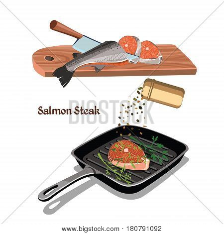 Sketch colorful salmon steak cooking concept with fish piece frying on pan food seasonings and spices vector illustration