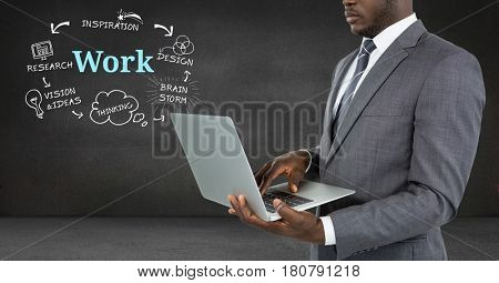 Digital composite of Businessman on laptop with Work text with drawings graphics