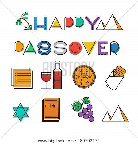 Passover icon set. Design elements collection. Jewish holiday Pesach icons. Colorful linear style. Vector illustration