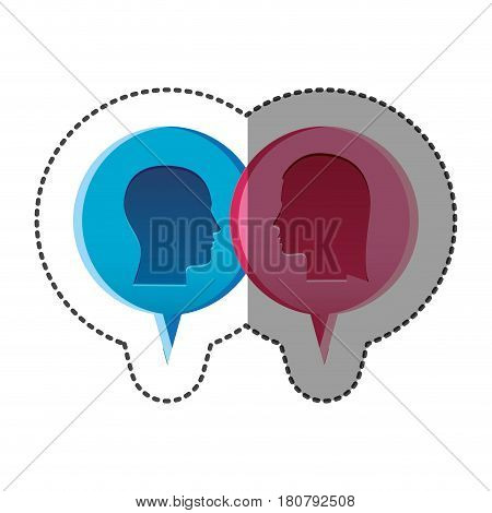 sticker colorful relief dialogue between man and woman vector illustration
