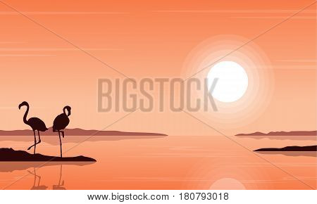 Silhouette of flamingo on beach scenery vector illustration