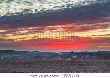 Sunset Colorful Sky Over Polish Village In Spring