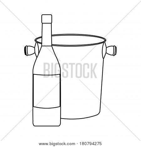 wine bottle and wine coleer icon over white background. vector illustration