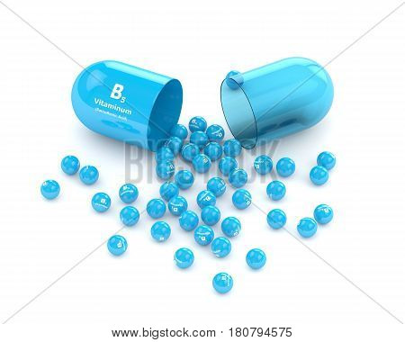 3D Rendering Of  Vitamin B5 Pill With Granules