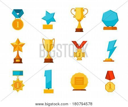 Set trophy winner award collection isolated on white background. Hanging medals, glass awards, gold cups in flat style. Prizes and rewards made of glass and gold vector illustration.