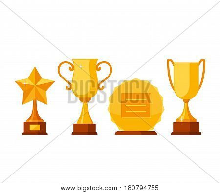 Set trophy winner award collection isolated on white background. Golden cups and awards in flat style. Prizes and rewards made of gold vector illustration.