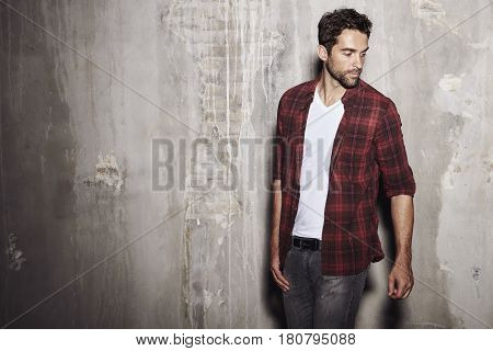 Cool Dude in checked shirt studio shot