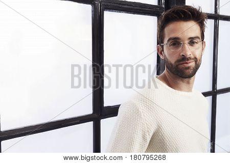 Portrait Of handsome stubble dude in studio